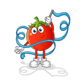Mascotte di ginnastica ritmica di pomodoro