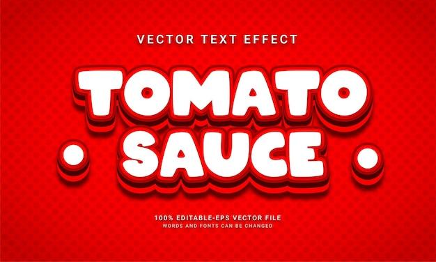 Effetto testo modificabile salsa di pomodoro con tema menu cibo piccante