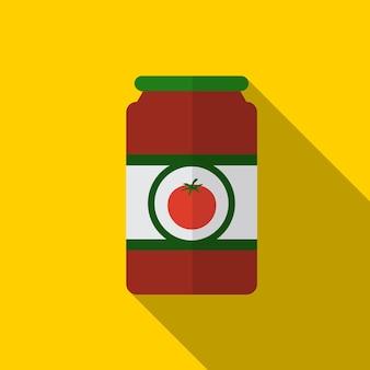 Simbolo del segno di vettore isolato illustrazione piana dell'icona della salsa di pomodoro