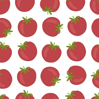 Modello senza cuciture di pomodoro isolato su priorità bassa bianca