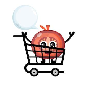 Carrello della spesa pomodoro simpatico personaggio logo