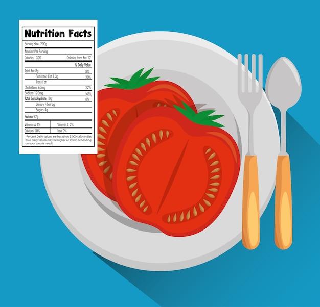 Pomodoro con il disegno dell'illustrazione di vettore di fatti di nutrizione