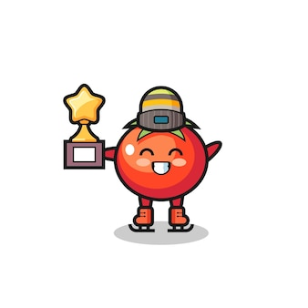Il fumetto dei pomodori come un giocatore di pattinaggio sul ghiaccio tiene il trofeo del vincitore, un design carino per t-shirt, adesivo, elemento logo