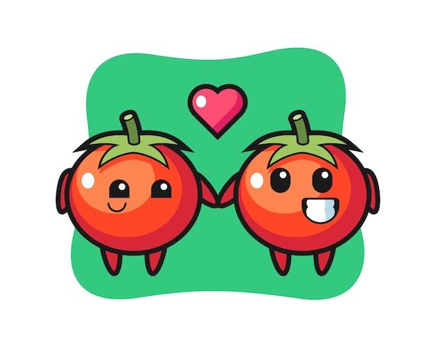 Coppia di personaggi dei cartoni animati di pomodori con gesto di innamoramento, design in stile carino per maglietta, adesivo, elemento logo