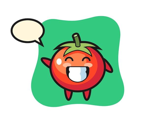Personaggio dei cartoni animati di pomodori che fa il gesto della mano con l'onda, design in stile carino per maglietta, adesivo, elemento logo