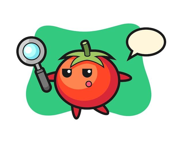 Personaggio dei cartoni animati di pomodori alla ricerca con una lente d'ingrandimento, design in stile carino per maglietta, adesivo, elemento logo