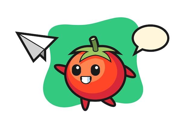 Personaggio dei cartoni animati di pomodori che lancia aeroplano di carta, design in stile carino per maglietta, adesivo, elemento logo