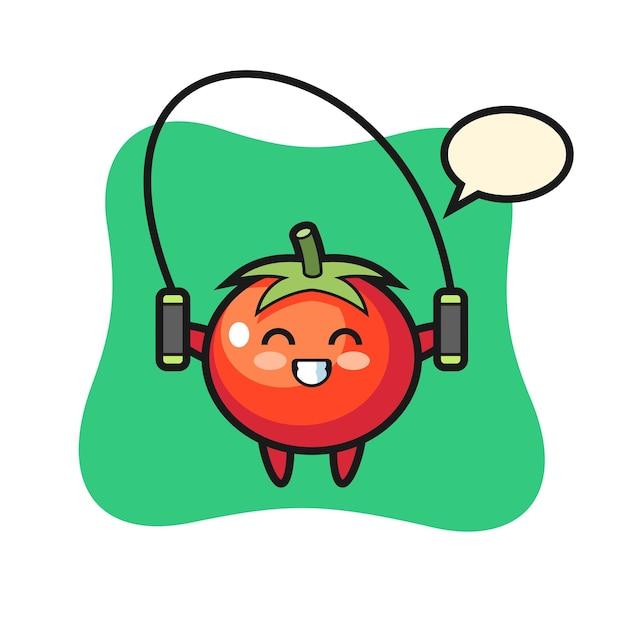 Personaggio dei cartoni animati di pomodori con corda per saltare, design in stile carino per maglietta, adesivo, elemento logo