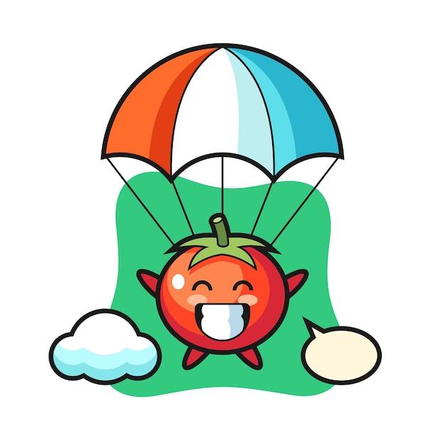 Il cartone animato della mascotte dei pomodori sta facendo paracadutismo con un gesto felice, un design in stile carino per maglietta, adesivo, elemento logo