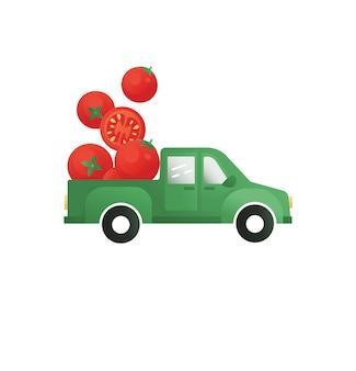 Pomodori in un elemento vettoriale di camion per la stampa di imballaggi con logo con pomodori consegna di verdure