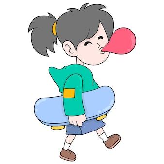 Ragazza maschiaccio che cammina mangiando gomma da masticare portando skateboard, arte illustrazione vettoriale. scarabocchiare icona immagine kawaii.