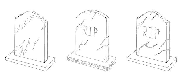 Set di pietre tombali doodle schizzo lineare di halloween