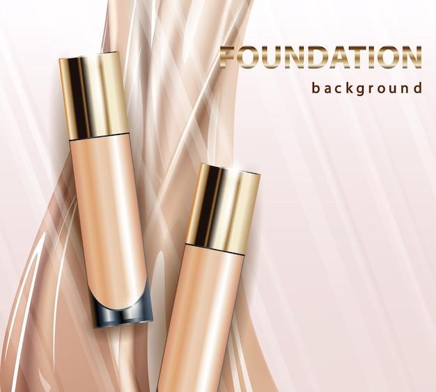 Flacone di crema per la pelle tonica. annunci di fondazione glamour, bottiglia di vetro con fondotinta. annunci eleganti per il design, illustrazione vettoriale 3d