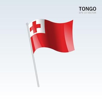 Tonga sventolando bandiera isolata su gray