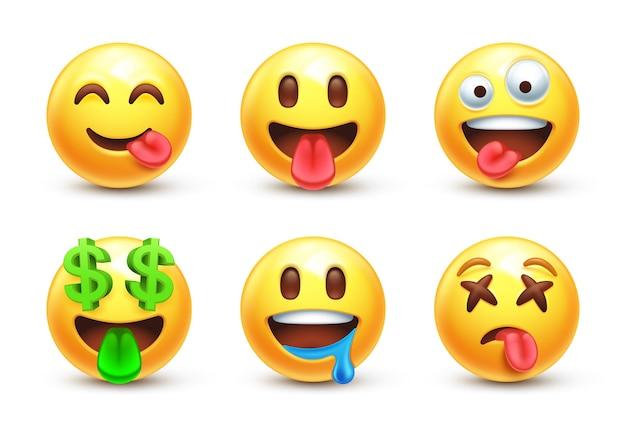 Lingua fuori emoji stilizzata 3d