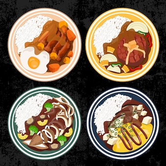 Tonkatsu hamburg calamari alla griglia omelette al curry riso cibo cucina giapponese