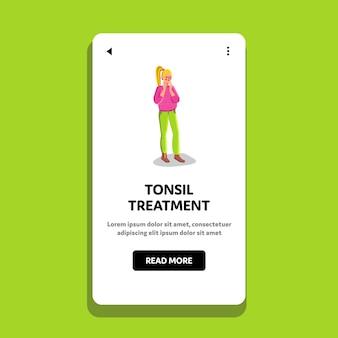Ragazza di malattia di trattamento delle tonsille in ospedale
