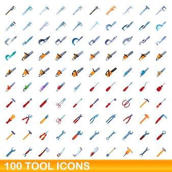 Set di icone degli strumenti. illustrazione del fumetto delle icone dello strumento impostata su priorità bassa bianca