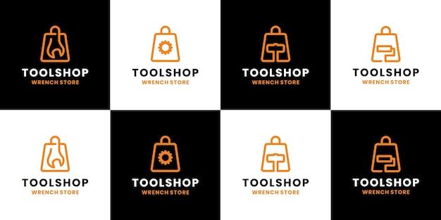 Negozio di utensili, officina, collezione di negozi online di design del logo del negozio di chiavi inglesi