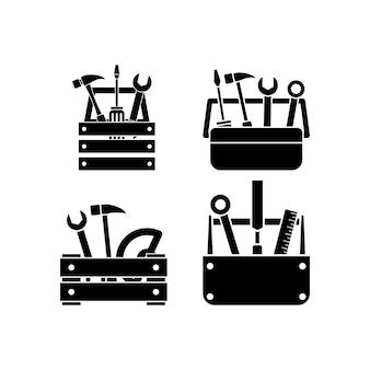 Illustrazione di set di icone della casella degli strumenti isolata
