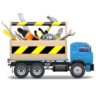 Cassetta degli attrezzi e camion isolati su bianco