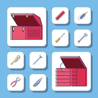 Cassette degli attrezzi e strumenti di riparazione della costruzione