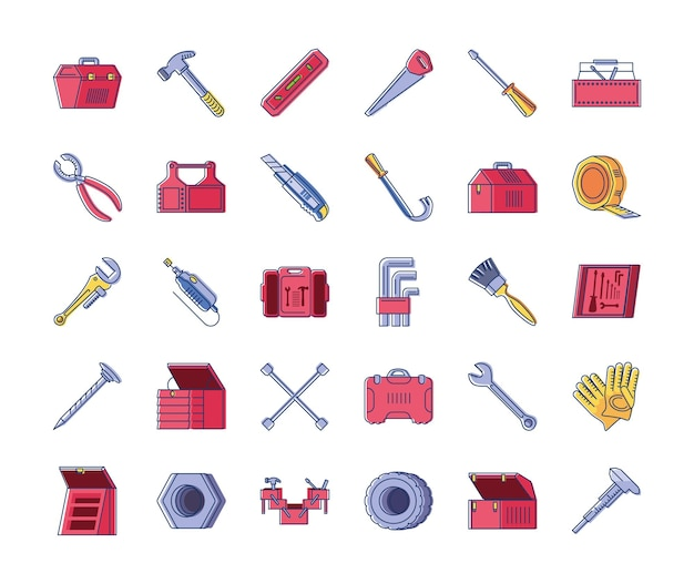 Set di lavori di riparazione di costruzione di strumenti