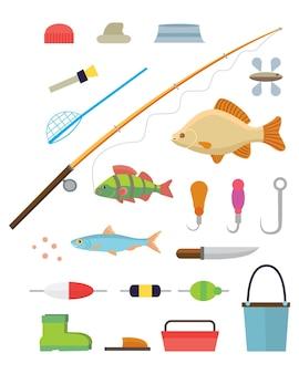 Strumenti per la pesca icone isolate impostate su sfondo bianco illustrazione
