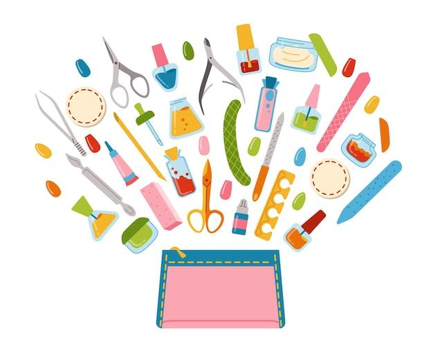 Strumenti volano fuori dalla borsa cosmetica, elementi di design del fumetto di attrezzature per manicure. lucidatura unghie, smalto per unghie, lima, pinzette, crema per le mani, forbici, olio, tronchesi e pennello.