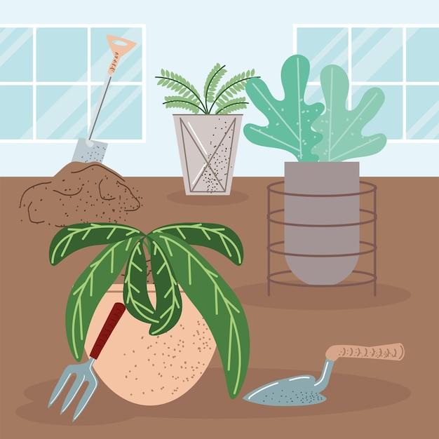 Strumenti e giardinaggio delle piantagioni