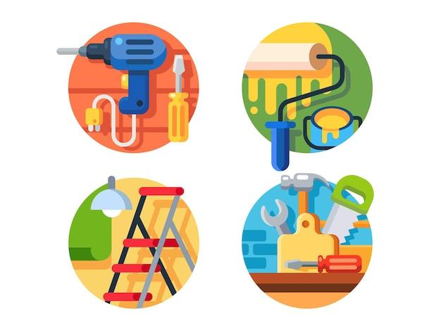 Strumenti per la riparazione. rullo e trapano con cacciavite, scala, martello o sega. illustrazione