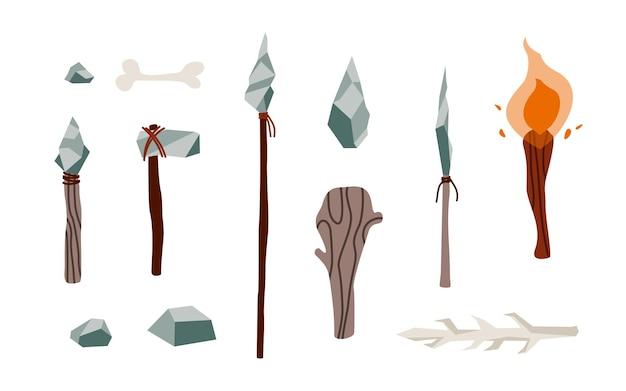 Strumenti e armi di elementi preistorici primitivi dell'età della pietra dalla roccia