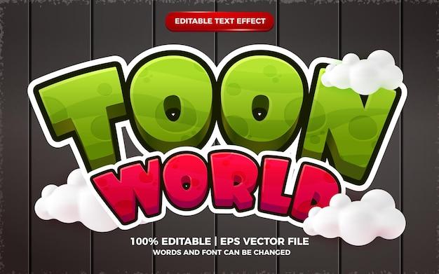Effetto di testo modificabile 3d fumetto fumetto mondo toon