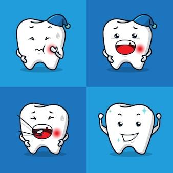 Insieme del fumetto della mascotte di salute dentale di mal di denti