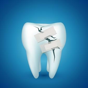 Dente su blu malato