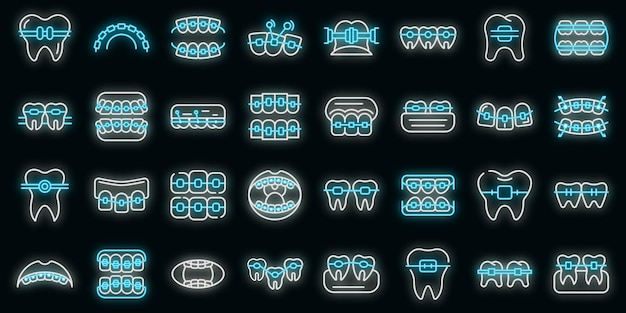 Set di icone delle parentesi graffe del dente. delineare il set di icone vettoriali per bretelle dentali colore neon su nero
