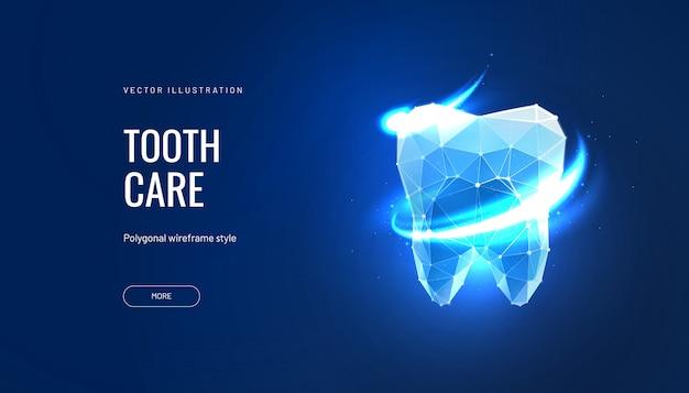 Illustrazione futuristica di cura dei denti in stile poligonale