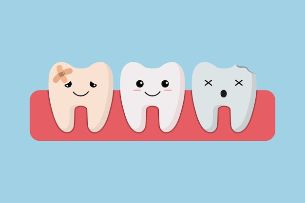 Pulizia dei denti. caratteri dei denti prima e dopo lo sbiancamento. dentista denti chiari e puliti. Vettore Premium