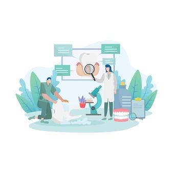 Concetto di rischio di malattia del dente con visita medica dall'illustrazione dei medici