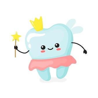 Fatina dei denti. simpatici denti kawaii. illustrazione vettoriale in stile cartone animato.