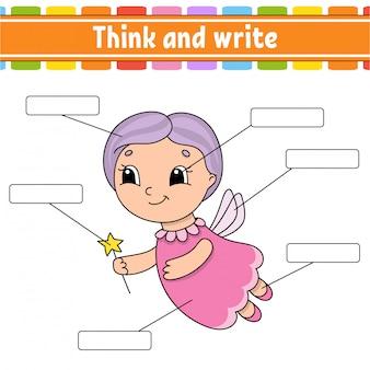 Fatina dei denti. pensa e scrivi. parte del corpo. imparare le parole.