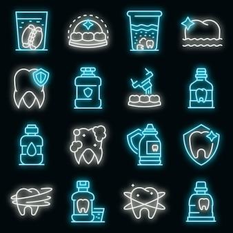 Set di icone di risciacquo dei denti. delineare il set di icone vettoriali per il risciacquo dei denti colore neon su nero