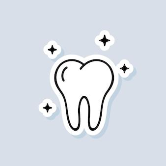 Autoadesivo del dente. logo della clinica odontoiatrica. concetto di assistenza sanitaria. vettore su sfondo isolato. env 10.