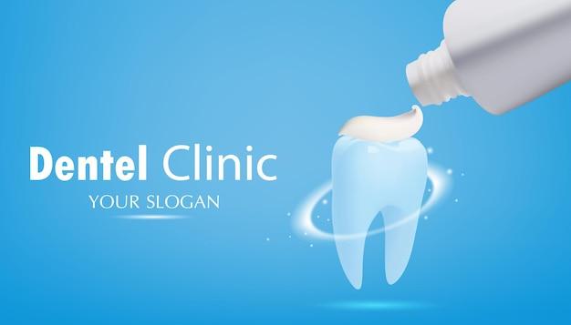Dente con dentifricioeffetto luminoso su sfondo bluillustrazione vettoriale di realistico