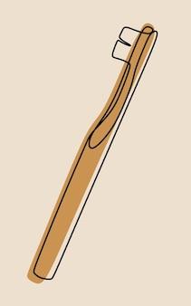 Arte della linea continua a una riga con spazzolino da denti
