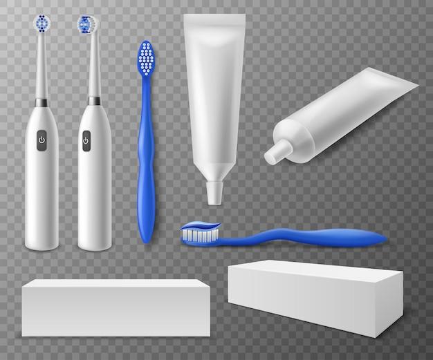 Spazzolino da denti e tubi. realistici diversi spazzolini da denti in plastica ed elettrici, imballaggi e tubi mockup di dentifricio, accessorio per odontoiatria igiene bocca vettore impostato su sfondo trasparente