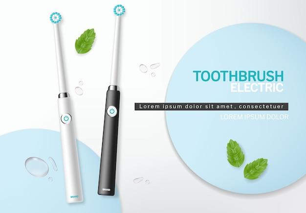 Vettore di spazzolino da denti realistico. prototipi di banner per il posizionamento del prodotto