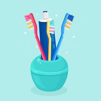 Spazzolini da denti per lavarsi i denti. cure odontoiatriche