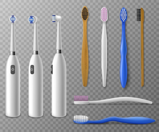 Modello di spazzolini da denti. plastica realistica, spazzolino elettrico in diverse angolazioni, articoli promozionali igiene quotidiana della bocca mattutina, vettore per la pulizia dei denti impostato su sfondo trasparente