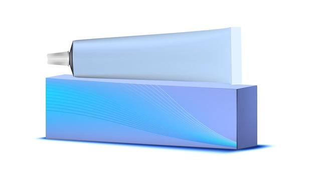 Tubo vuoto di dentifricio e vettore di imballaggio della scatola. contenitore e pacchetto del dentifricio in pasta dello spazzolino da denti della bocca. modello di procedura di trattamento medico per l'igiene orale della bocca illustrazione 3d realistica